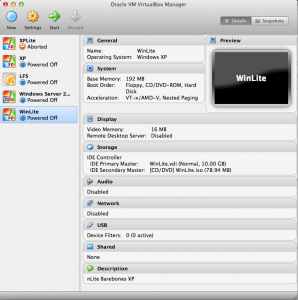 VirtualBox Manager