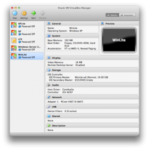 VirtualBox Manager Initial